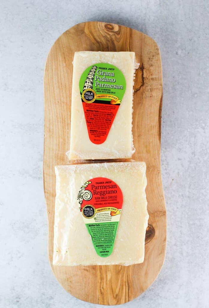 Copycat Trader Joe's Oven Baked Cheese Bites cheese needed to make at home: parmesan and grana padano