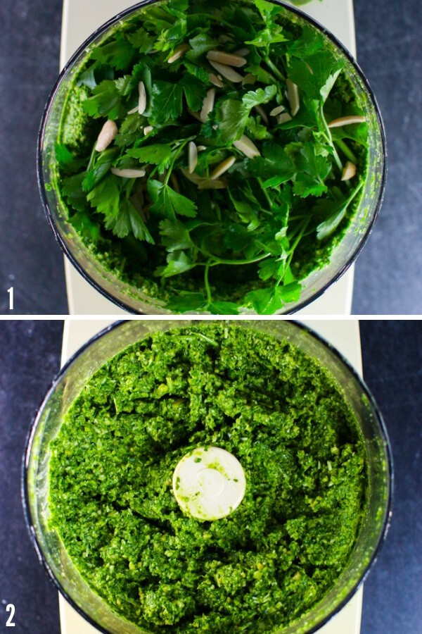 Process shot of arugula pesto. Top picture shows greens and almonds still whole in a food processor. Bottom picture shows fully formed arugula pesto