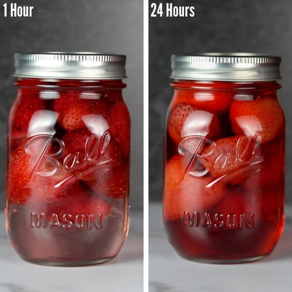Stawberry infused vodka shown at the 1 hour mark and 24 hour mark showing the darker color of the strawberry infused vodka