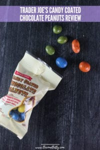 Trader Joe's Candy Coated Chocolate Peanuts review Pin for Pinterest