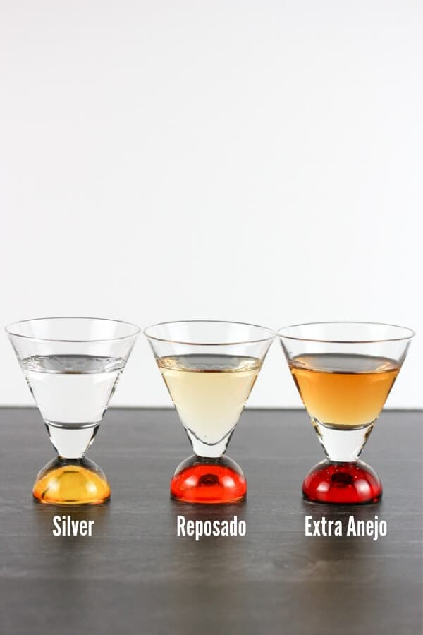 Three shot glasses side by side. One contains silver tequila, the next contains a more golden reposado tequila, and the last one contains extra anejo tequila