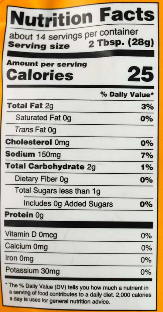 Nutritional information in Trader Joe's Amba Mango Sauce