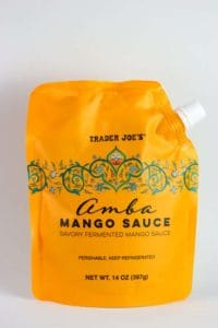 An unopened package of Trader Joe's Amba Mango Sauce