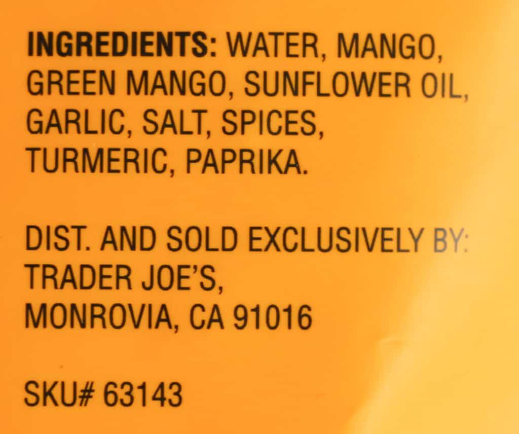 Ingredient list in Trader Joe's Amba Mango Sauce