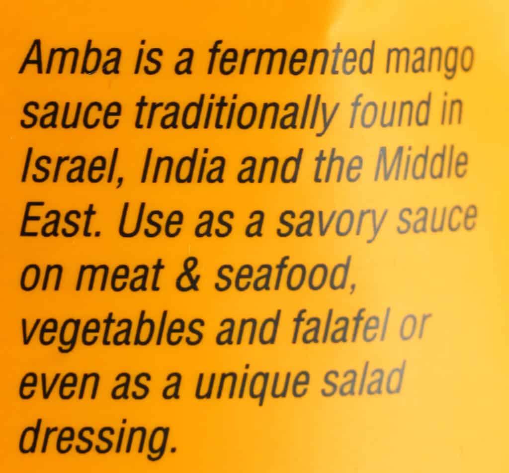 Description on the bag of Trader Joe's Amba Mango Sauce