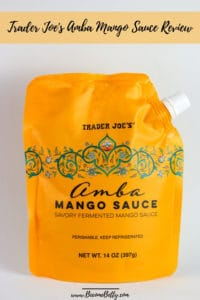 Trader Joe's Amba Mango Sauce review pin for pinterest