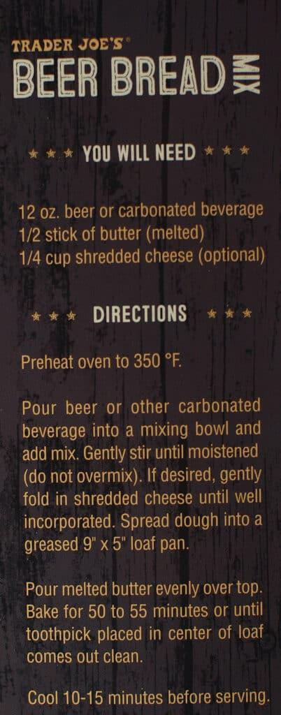 Description and how to prepare Trader Joe's Beer Bread Mix