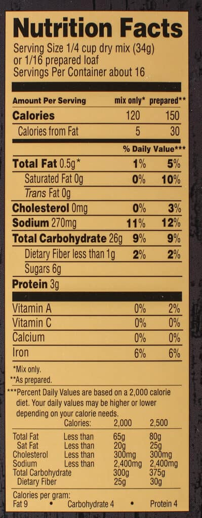 Nutritional information and calories in Trader Joe's Beer Bread Mix