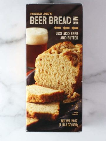 An unopened box of Trader Joe's Beer Bread Mix