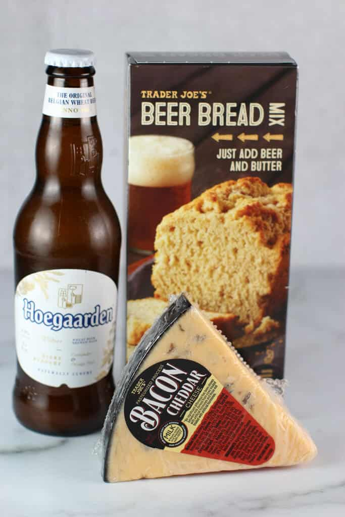Trader Joe's Beer Bread Mix box with a beer and bacon cheddar cheese
