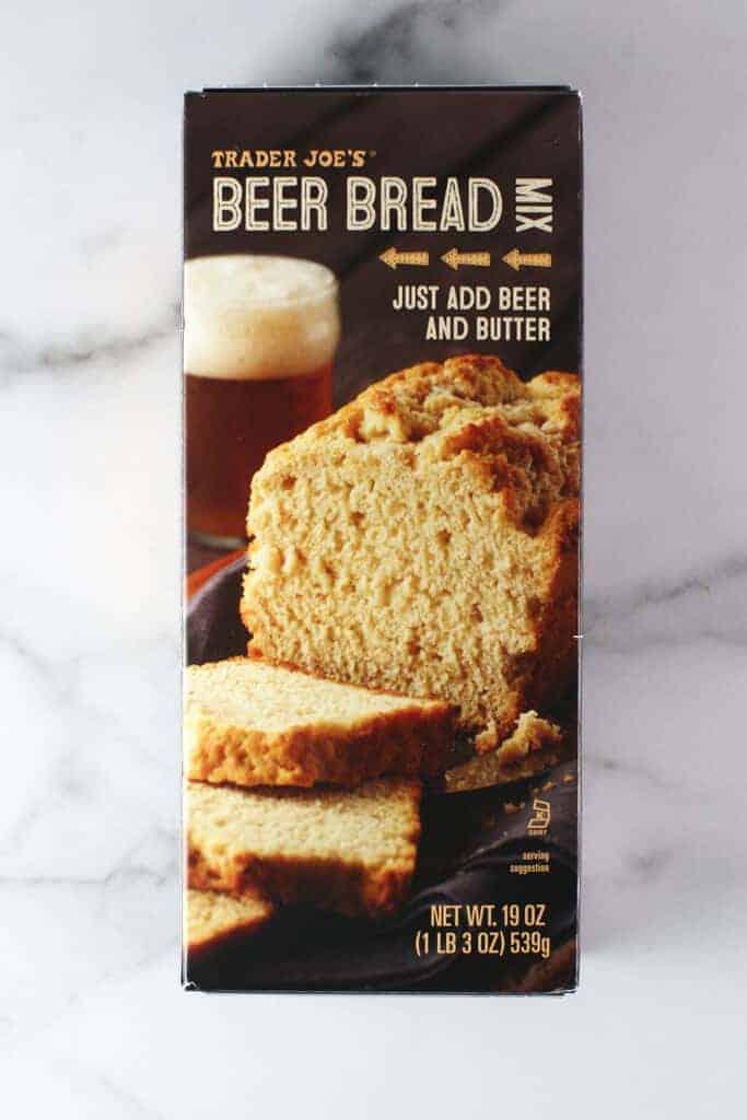 An unopened box of Trader Joe's Beer Bread Mix