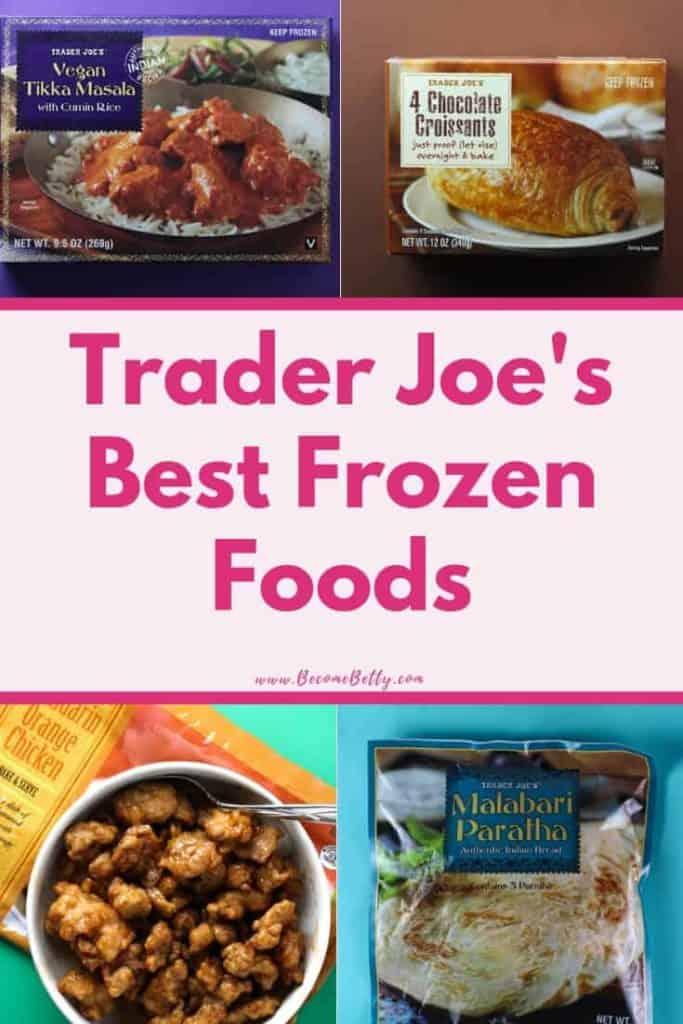 Trader Joe's Best Frozen Foods list image for Pinterest