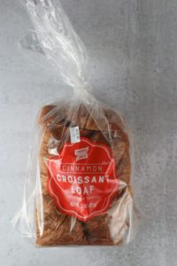 An unopened package of Trader Joe's Cinnamon Croissant Loaf