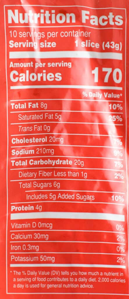 Trader Joe's Cinnamon Croissant Loaf nutritional facts and calorie information