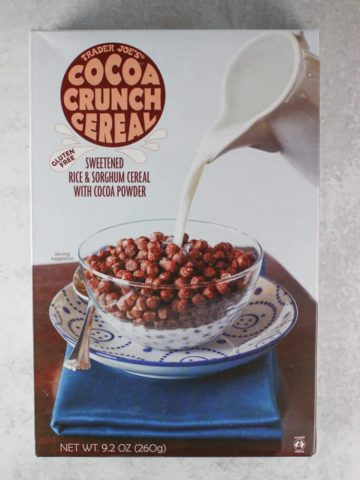 An unopened box of Trader Joe's Cocoa Crunch Cereal