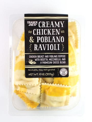 An unopened package of Trader Joe's Creamy Chicken and Poblano Ravioli