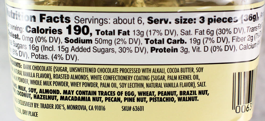 Nutritional information and ingredient list in Trader Joe's Dark Chocolate Almond Butter Cups