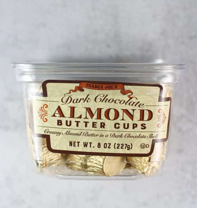An unopened package of Trader Joe's Dark Chocolate Almond Butter Cups