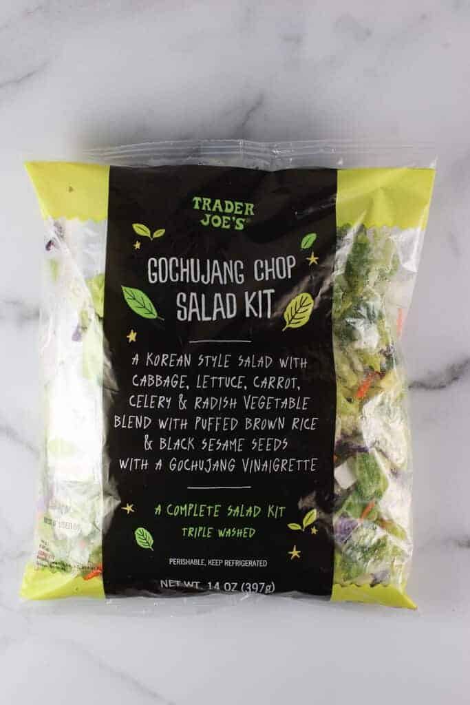 An unopen bag of Trader Joe's Gochujang Chop Salad Kit