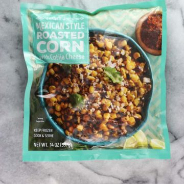 An unopened bag of Trader Joe's Mexican Style Roasted Corn