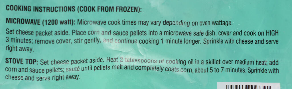 Cooking directions for Trader Joe's Mexican Style Roasted Corn