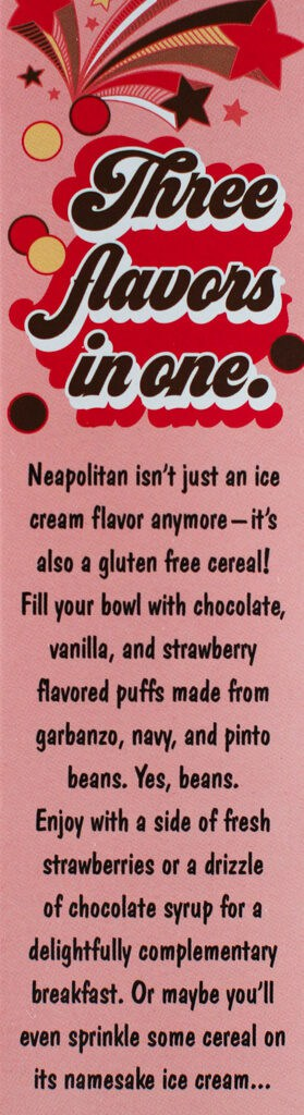 Description of Trader Joe's Neapolitan Puffs Cereal from the side of the box