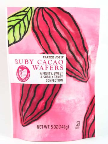 An unopened bag of Trader Joe's Ruby Cacao Wafers