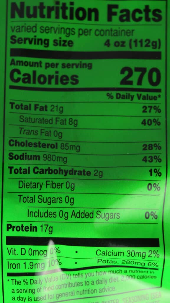 Nutritional information and calorie count in Trader Joe's Uncured Corned Beef Brisket