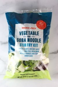 An unopened bag of Trader Joe's Vegetable and Soba Noodle Stir Fry Kit