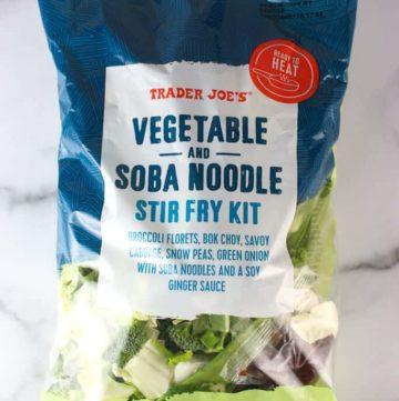 An unopened bag of Trader Joe's Vegetable and Soba Noodle Stir Fry Kit