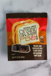 An unopened bag of Trader Joe's Organic Dark Chocolate PB and J minis