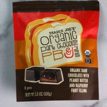 An unopened bag of Trader Joe's Organic Dark Chocolate PB and J minis