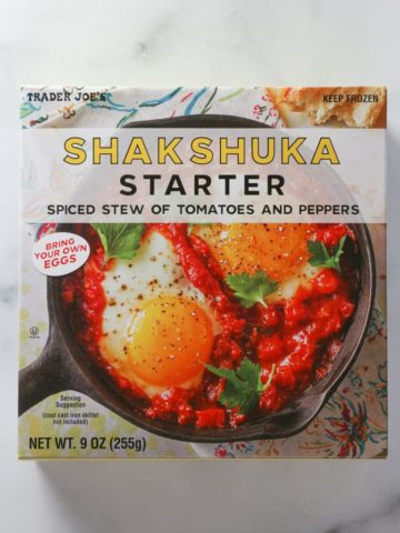 An unopened box of Trader Joe's Shakshuka Starter