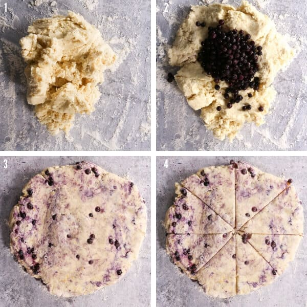Four images showing the shaggy dough, the blueberries placed on top, the dough shaped into a disk and then the disk is cut