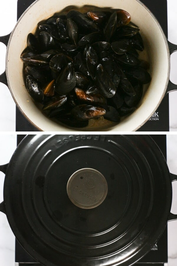 Step 4 of making Mussels in White Wine Sauce: adding the mussels and then covering the pot