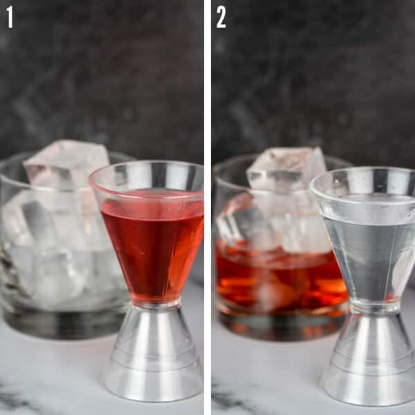 Two ingredients going into a glass of ice: strawberry liqueur and vodka