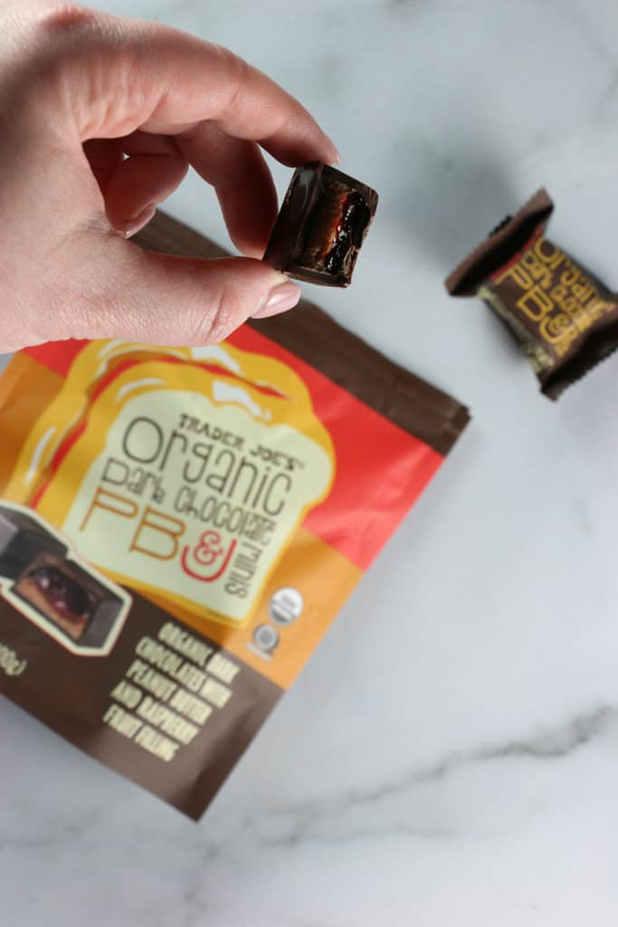The insides of a Trader Joe's Organic Dark Chocolate PB and J minis