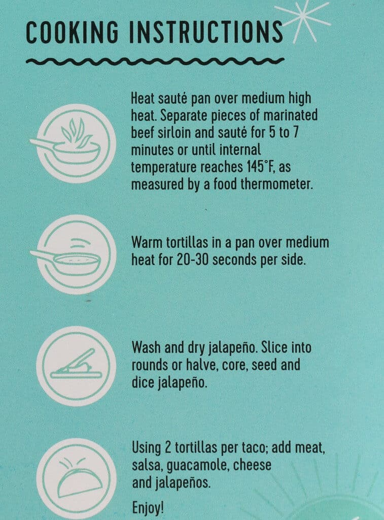 Cooking instructions for Trader Joe's Beef Sirloin Taco Kit