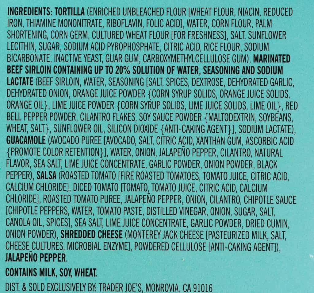 Ingredients in Trader Joe's Beef Sirloin Taco Kit