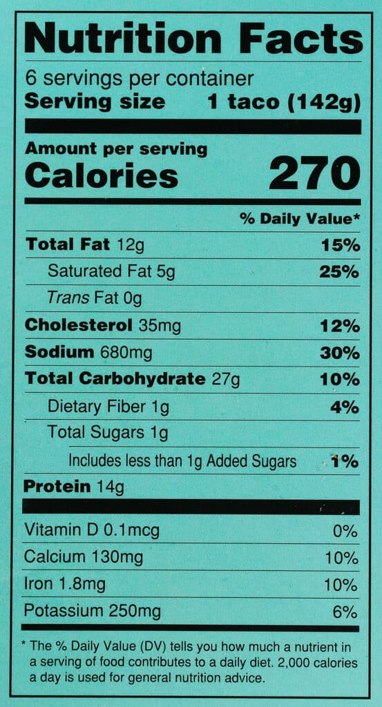 Calories and nutritional information in Trader Joe's Beef Sirloin Taco Kit
