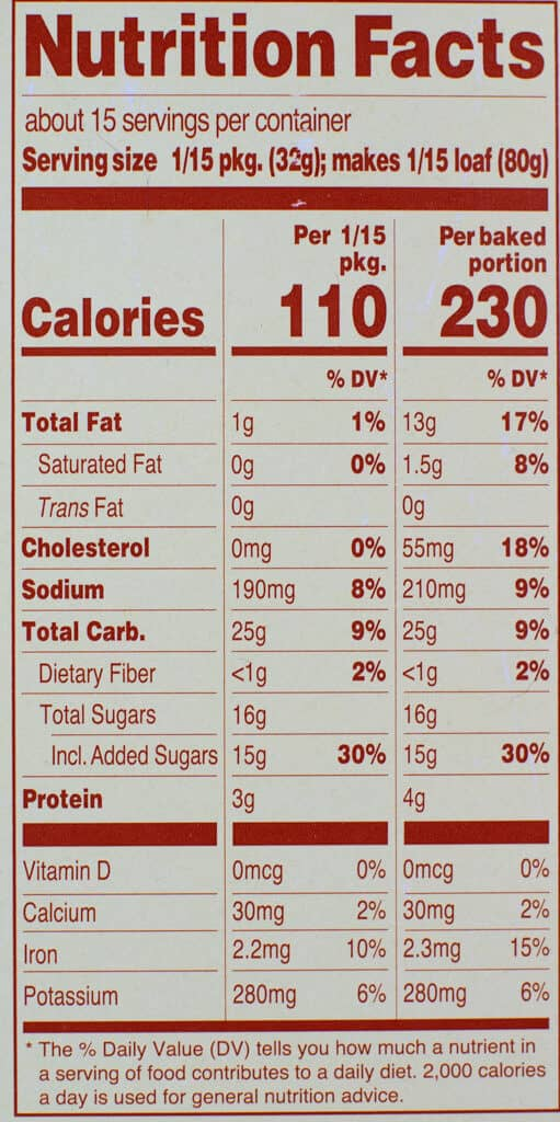Calories and nutritional information in Trader Joe's Fudgy Chocolate Quinoa Loaf and Cake Mix