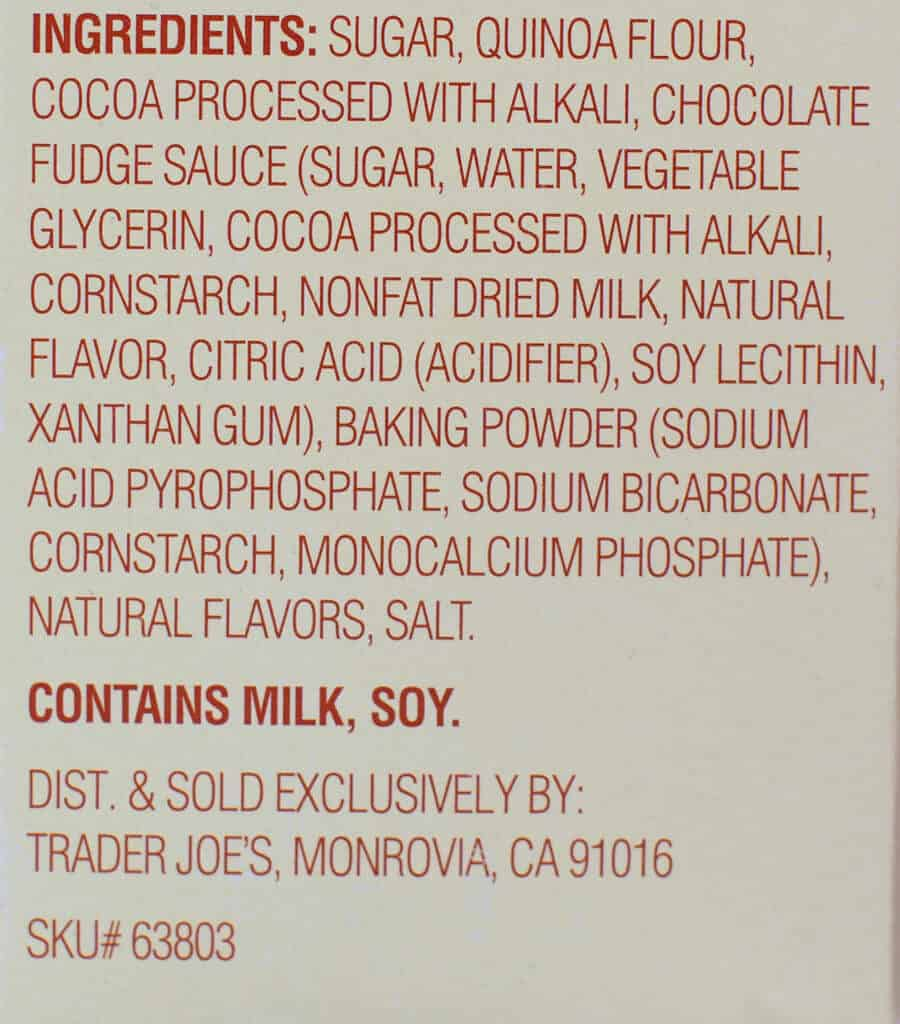 Ingredients and allergy information in Trader Joe's Fudgy Chocolate Quinoa Loaf and Cake Mix