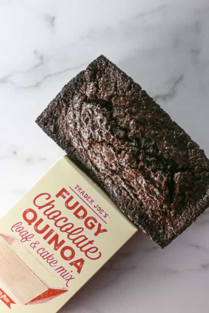 A fully baked Trader Joe's Fudgy Chocolate Quinoa Loaf and Cake