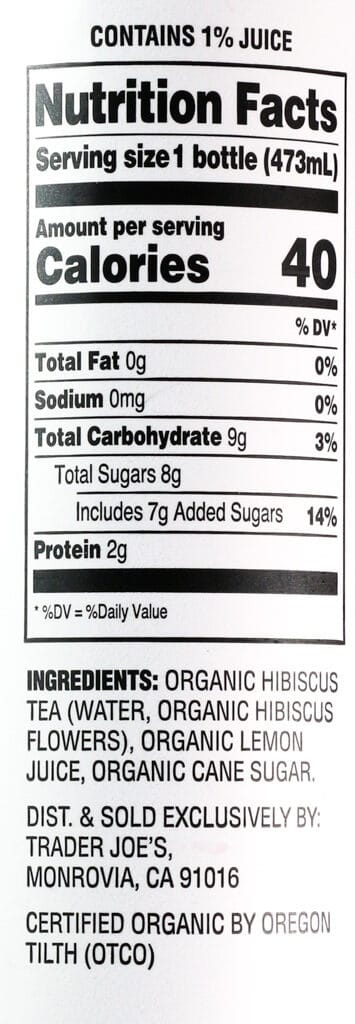 Nutritional information, calories, and ingredients in Trader Joe's Organic Cold Brewed Hibiscus Tea and Lemonade