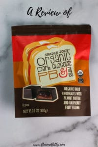 Trader Joe's Organic Dark Chocolate PB & J Minis review Pin for Pinterest