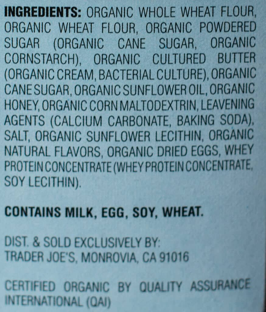 Ingredients and allergy information in Trader Joe's Organic Honey Hedgehog Cookies