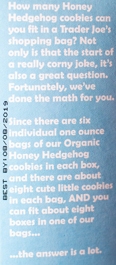 The description from the side of the box of Trader Joe's Organic Honey Hedgehog Cookies