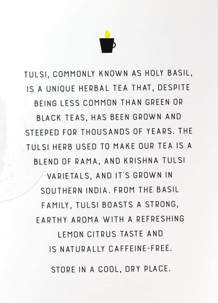 Description of Trader Joe's Organic Tulsi Herbal Tea on the box