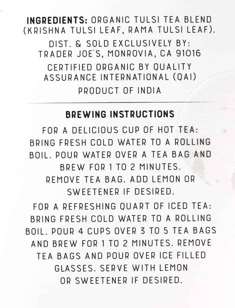 Ingredients and how to prepare Trader Joe's Organic Tulsi Herbal Tea