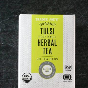 An unopened box of Trader Joe's Organic Tulsi Herbal Tea